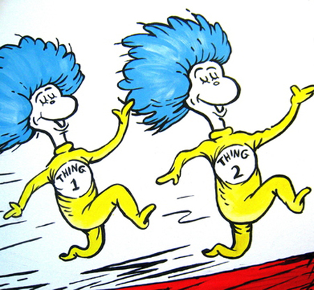 Dr. Seuss Art - Thing 1 and Thing 2