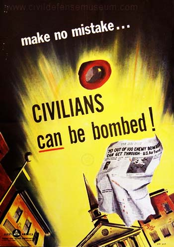 Vintage Home Front Posters - Civilians Can Be Bombed