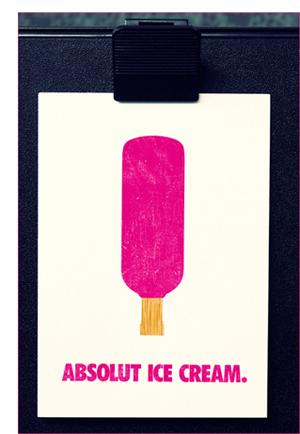 postcard design - absolut ice cream
