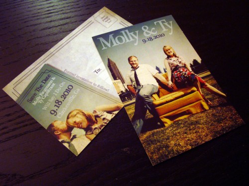 sitcom themed wedding postcard