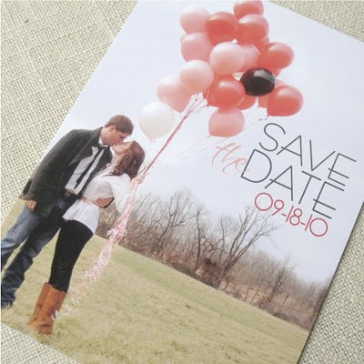 Balloon save the date wedding themed postcard