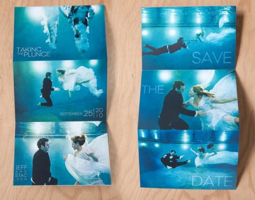 underwater photography wedding postcard