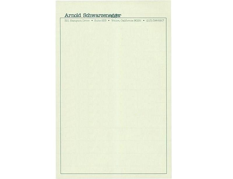 Personal Letterhead - Arnold Schwarzenegger