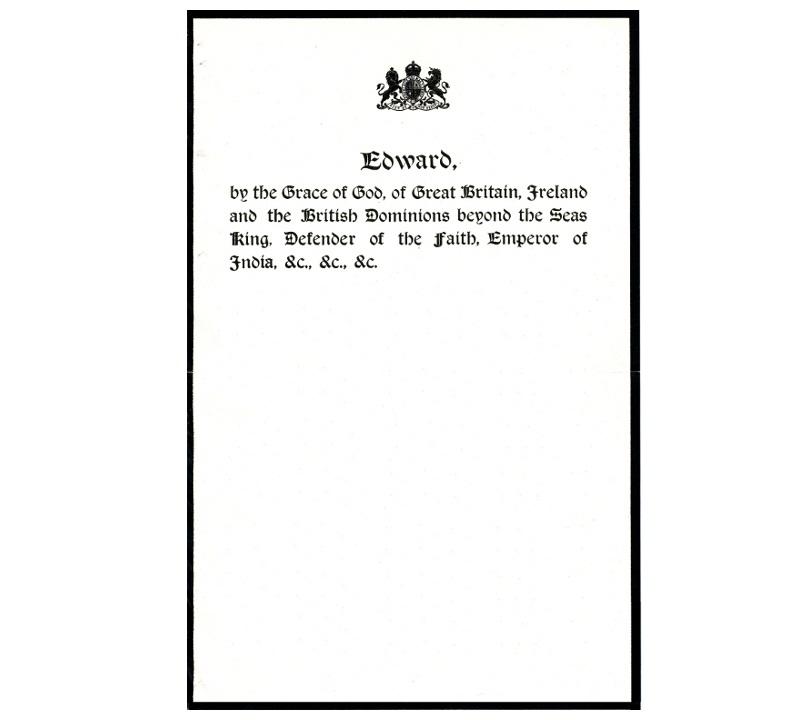 Personal Letterhead - Edward VIII
