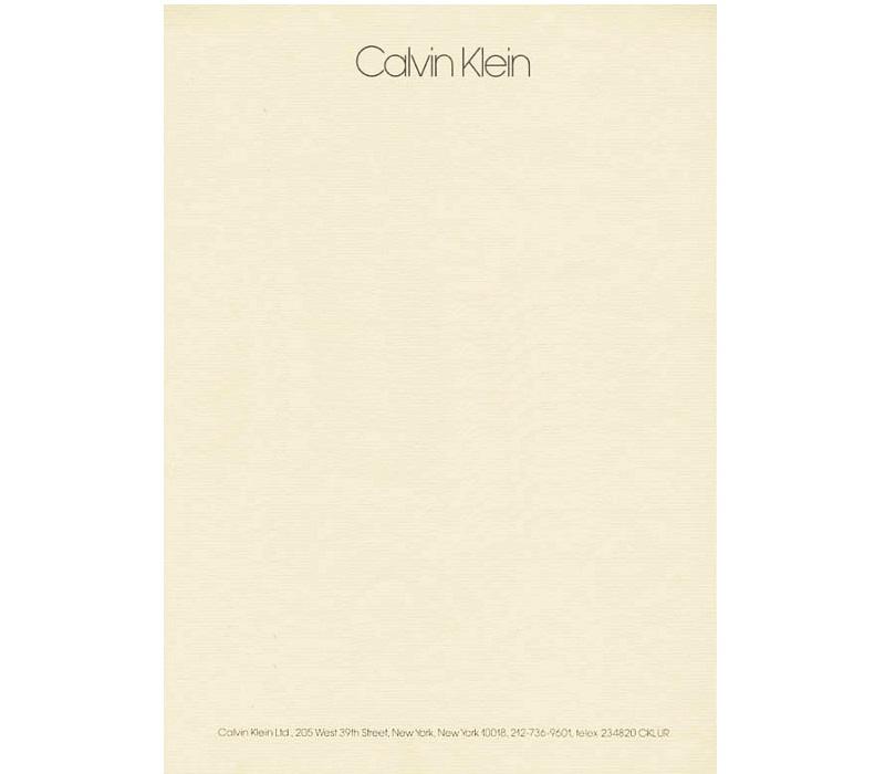 Personal Letterhead - Calvin Klein