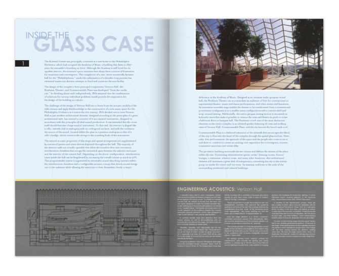 Viñoly: Kimmel Center Newsletter - Inside Pages