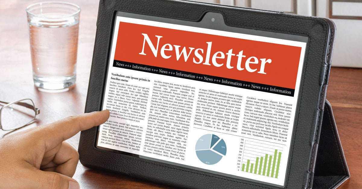 Digital newsletter on tablet