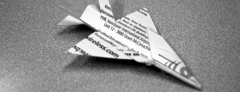 Business Card Paper Plane - Hybrid Networking: In Defense of Business Cards and Social Media