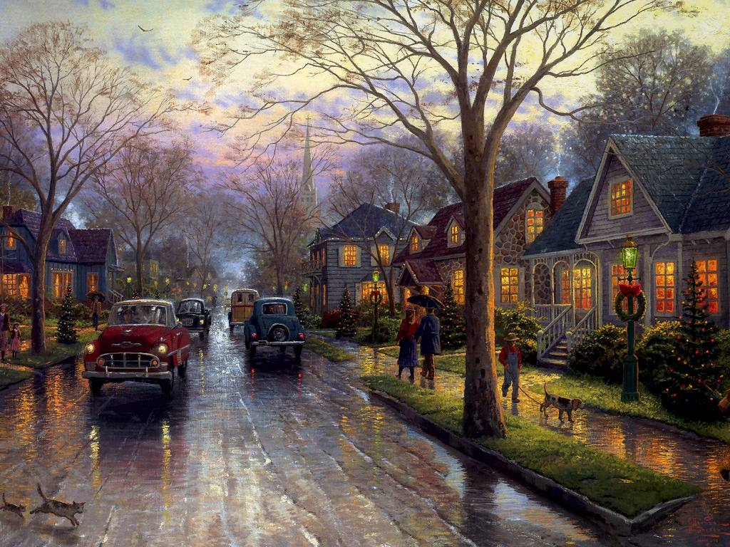 Hometown Christmas Memories Painting By Thomas Kinkade Picture