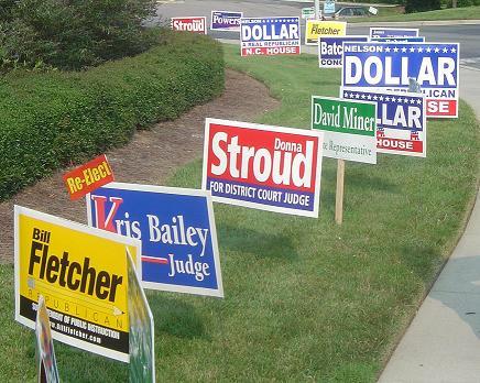 Pic of campaign signs in Apex, North Carolina - Public Domain