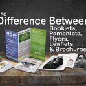 Flyers, leaflets, booklets, pamphlets, and brochures side by side with post title.