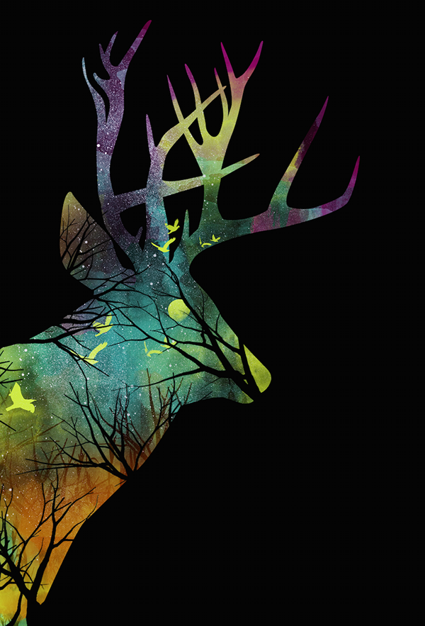 negative space deer