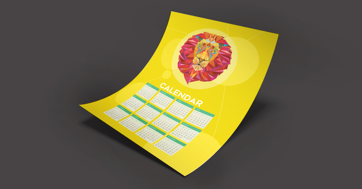 Example of a poster calendar with a lion