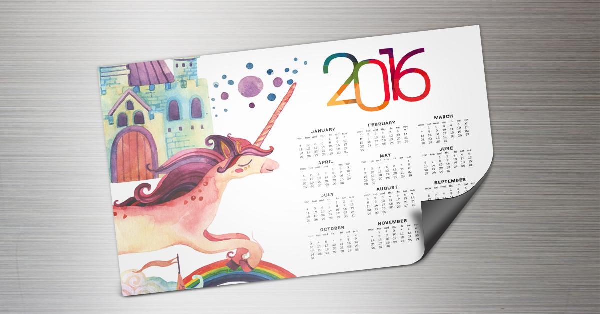 Magnet calendar with a unicorn