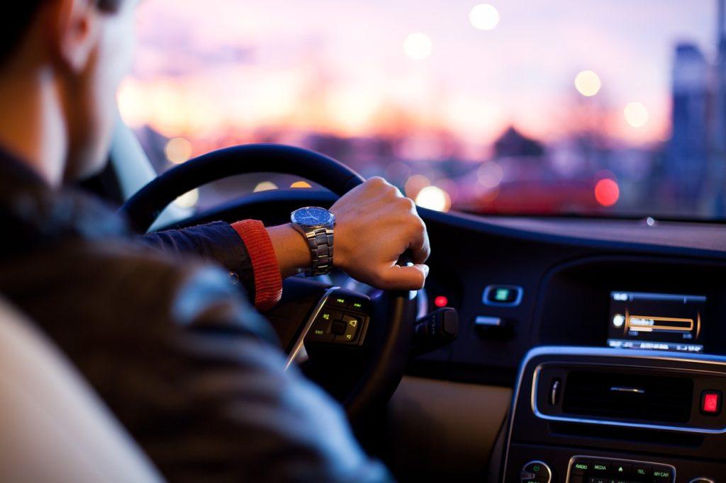 Driver listening to radio