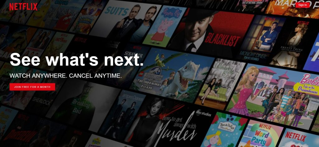Netflix website showing featured shows.