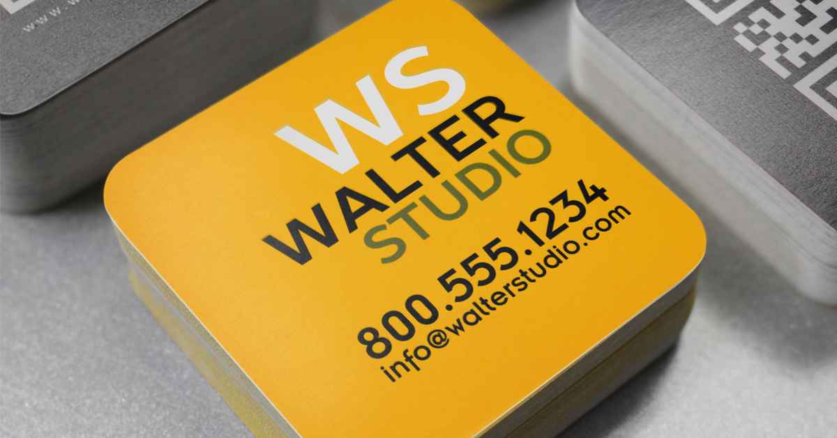 Rounded corner square shaped business card