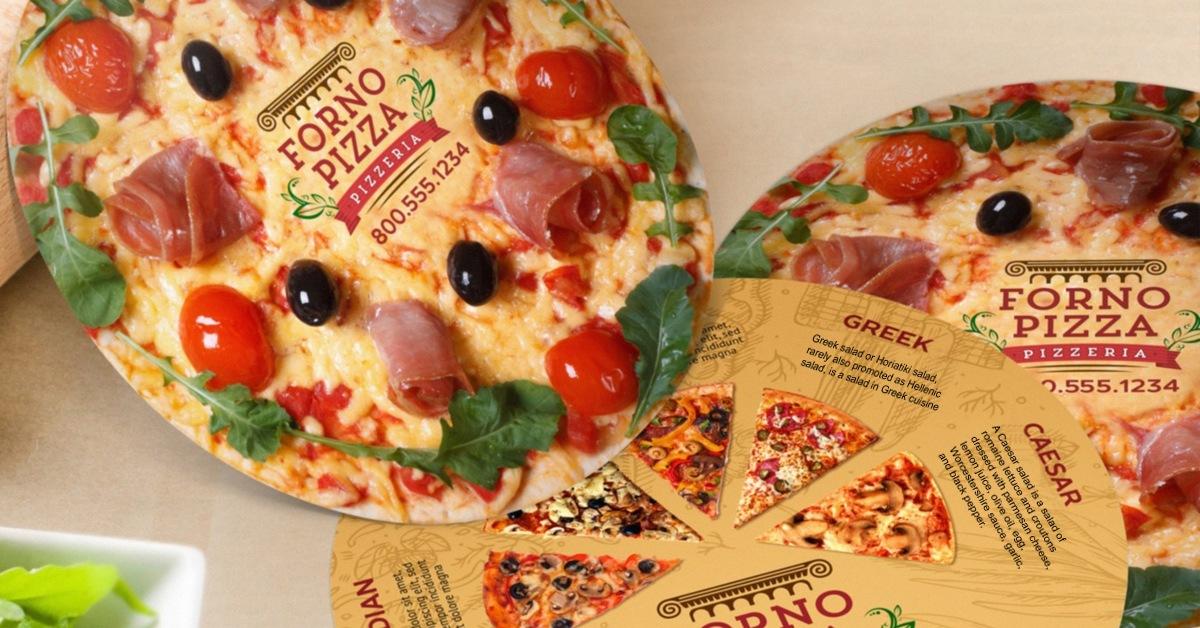 circle pizza marketing flyer