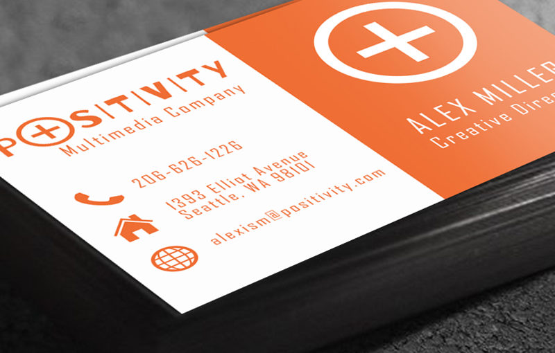 Business Card Design Guide - Orange Sample Card