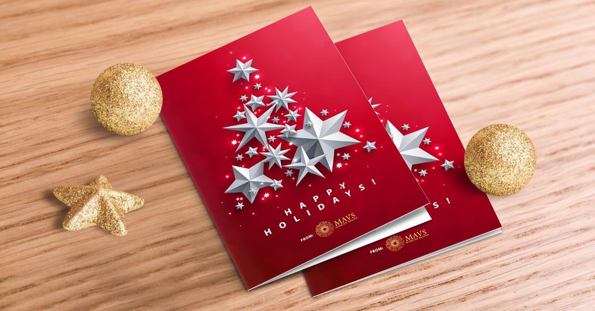 foil holiday postcard