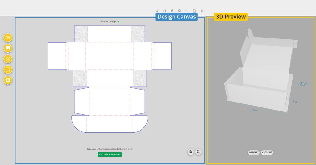 Design canvas and 3D preview