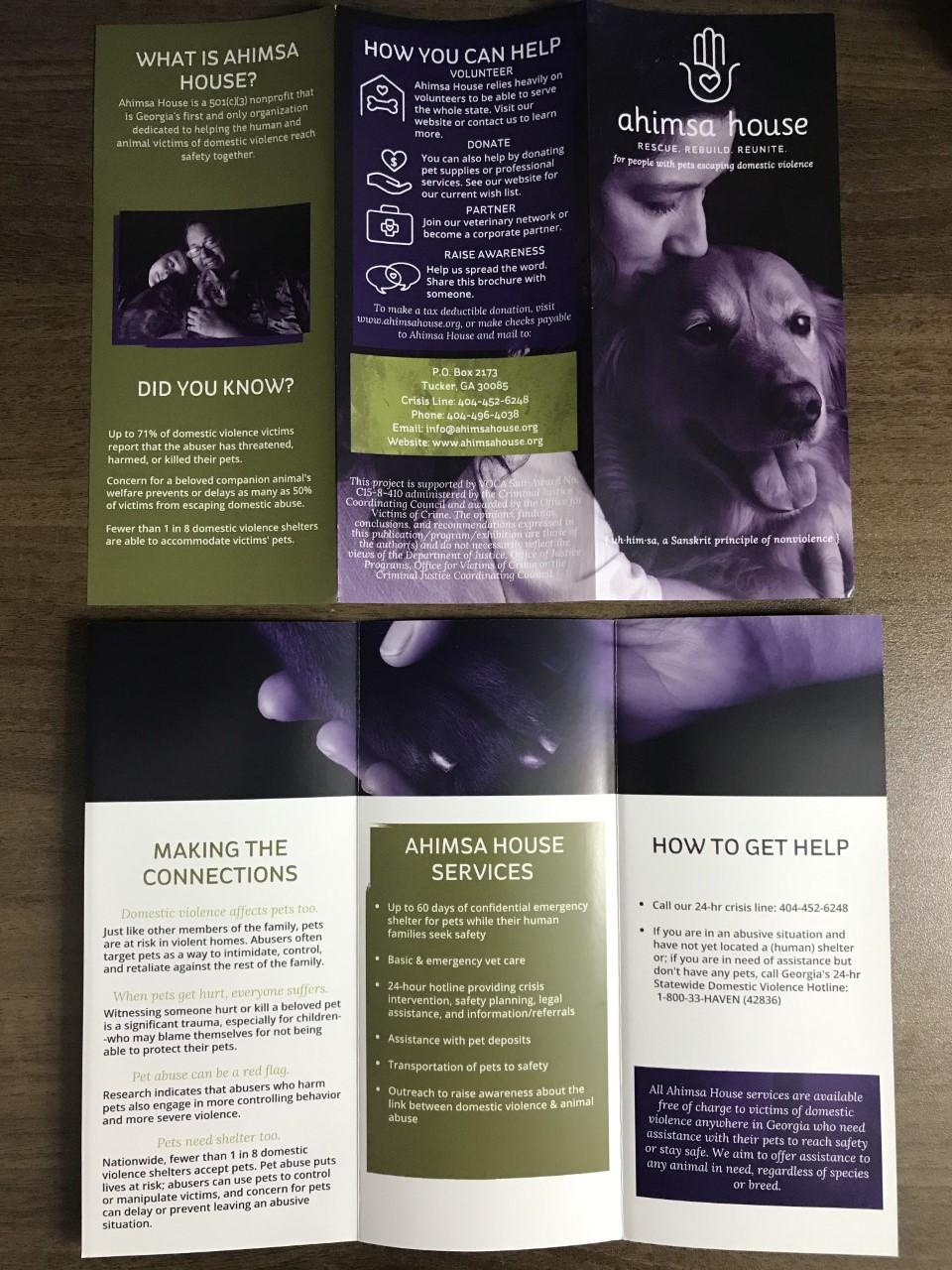 Ahimsa house trifold brochure